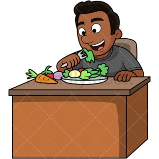 Black man enjoying vegetables. PNG - JPG and vector EPS. Image isolated on transparent background.
