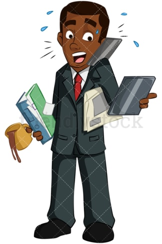 Black man multitasking. PNG - JPG and vector EPS (infinitely scalable). Image isolated on transparent background.