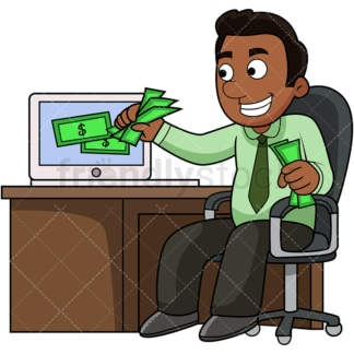 Black man pulling money out of computer. PNG - JPG and vector EPS file formats (infinitely scalable). Image isolated on transparent background.