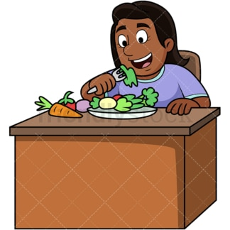 Black woman enjoying veggies. PNG - JPG and vector EPS. Image isolated on transparent background.