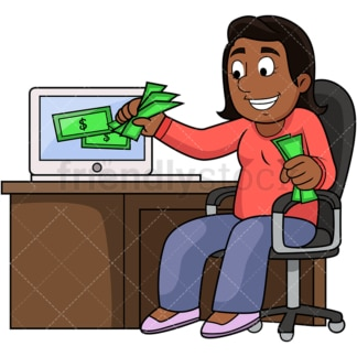 Black woman grabbing money from computer. PNG - JPG and vector EPS file formats (infinitely scalable). Image isolated on transparent background.