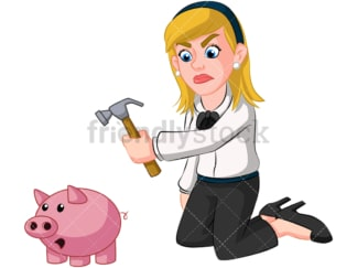 Business woman breaking piggy bank. PNG - JPG and vector EPS (infinitely scalable). Image isolated on transparent background.