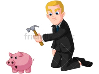 Businessman breaking piggy bank. PNG - JPG and vector EPS (infinitely scalable). Image isolated on transparent background.