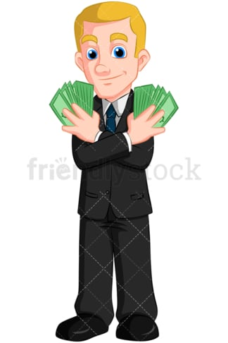 Businessman holding cash. PNG - JPG and vector EPS (infinitely scalable). Image isolated on transparent background.