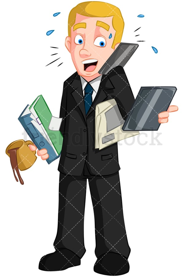 Businessman multitasking. PNG - JPG and vector EPS (infinitely scalable). Image isolated on transparent background.