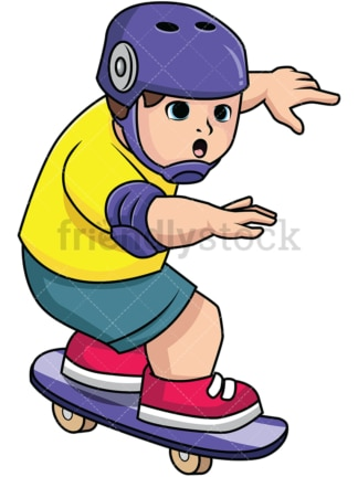 Chubby kid skateboarding. PNG - JPG and vector EPS file formats (infinitely scalable). Image isolated on transparent background.