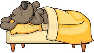 Cute pet dog sleeping in bed. PNG - JPG and vector EPS file formats (infinitely scalable). Image isolated on transparent background.
