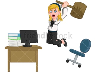 Furious businesswoman smashing computer. PNG - JPG and vector EPS (infinitely scalable). Image isolated on transparent background.