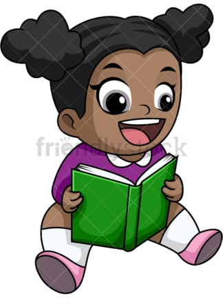 Happy black girl reading book. PNG - JPG and vector EPS file formats (infinitely scalable). Image isolated on transparent background.