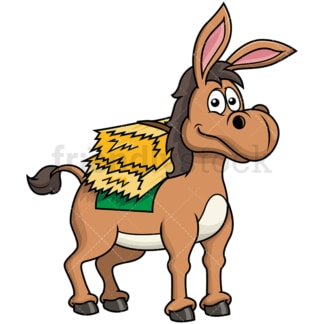 Happy donkey carrying hay. PNG - JPG and vector EPS file formats (infinitely scalable). Image isolated on transparent background.