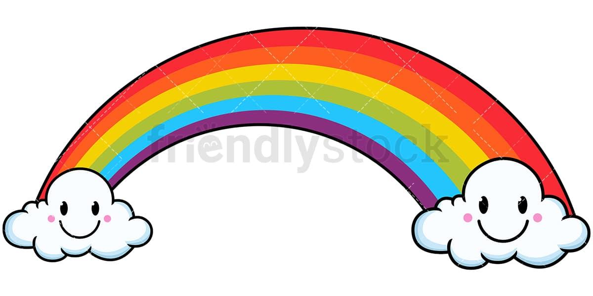 Kawaii Rainbow Between Clouds Cartoon Vector Clipart ...