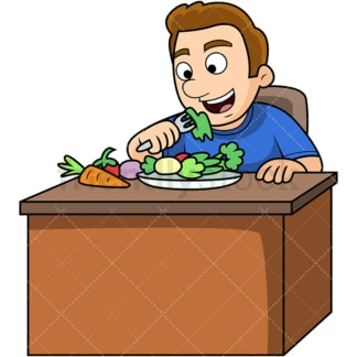 Man enjoying vegetables. PNG - JPG and vector EPS. Image isolated on transparent background.