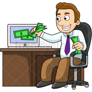 Man making money online. PNG - JPG and vector EPS file formats (infinitely scalable). Image isolated on transparent background.