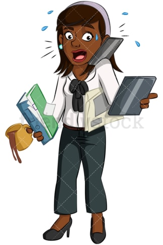 Multitasking black woman. PNG - JPG and vector EPS (infinitely scalable). Image isolated on transparent background.