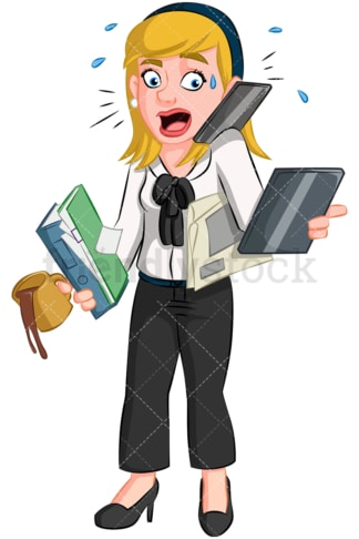 Multitasking businesswoman. PNG - JPG and vector EPS (infinitely scalable). Image isolated on transparent background.