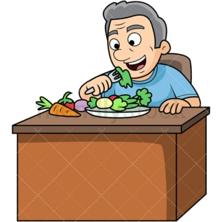 Old man enjoying vegetables. PNG - JPG and vector EPS. Image isolated on transparent background.