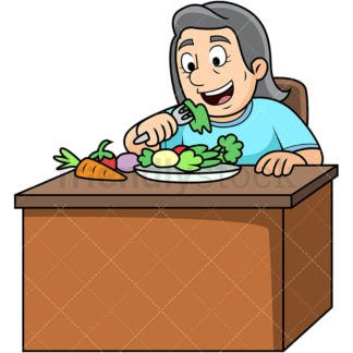 Old woman enjoying vegetables. PNG - JPG and vector EPS. Image isolated on transparent background.