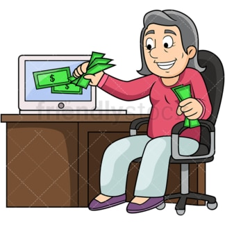 Old woman making money online. PNG - JPG and vector EPS file formats (infinitely scalable). Image isolated on transparent background.