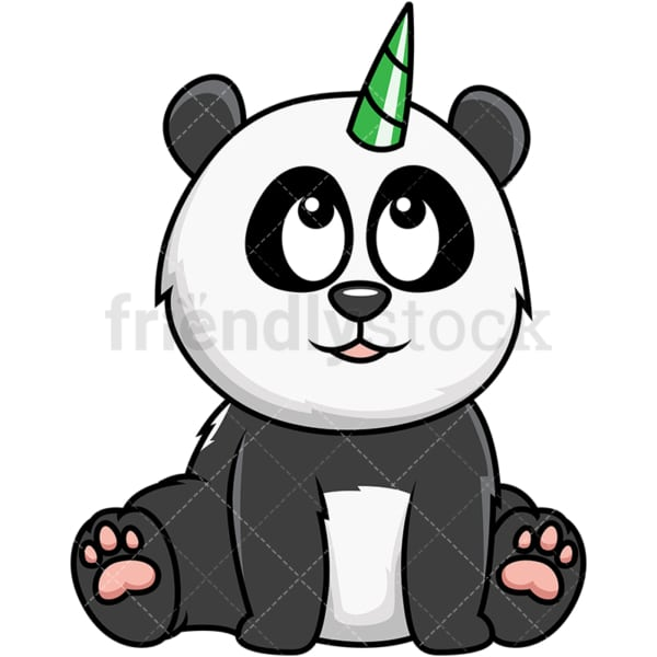 Panda bear unicorn. PNG - JPG and vector EPS file formats (infinitely scalable). Image isolated on transparent background.