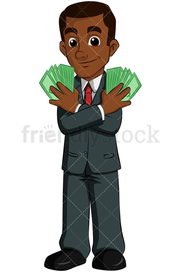 Rich black entrepreneur holding cash. PNG - JPG and vector EPS (infinitely scalable). Image isolated on transparent background.