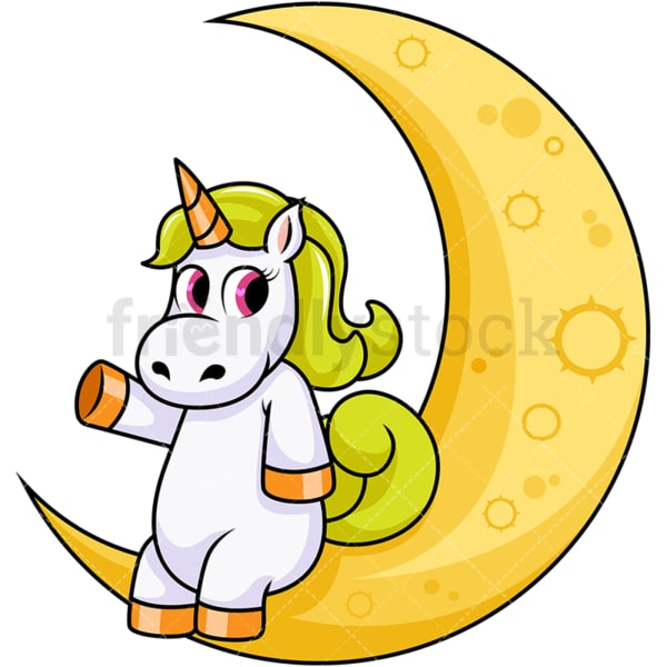 Unicorn sitting on the moon. PNG - JPG and vector EPS file formats (infinitely scalable). Image isolated on transparent background.