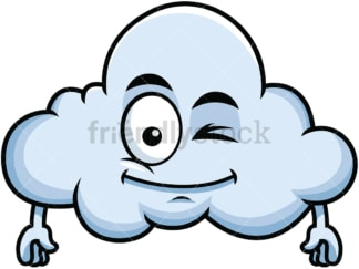 Winking cloud emoticon. PNG - JPG and vector EPS file formats (infinitely scalable). Image isolated on transparent background.