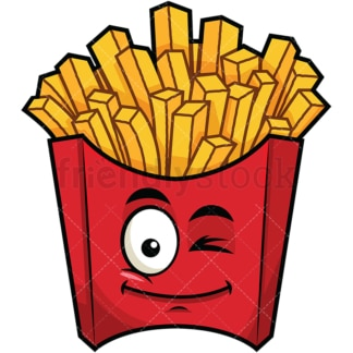 Winking french fries emoticon. PNG - JPG and vector EPS file formats (infinitely scalable). Image isolated on transparent background.