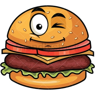 Winking hamburger emoticon. PNG - JPG and vector EPS file formats (infinitely scalable). Image isolated on transparent background.