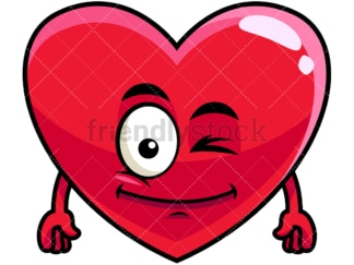 Winking heart emoticon. PNG - JPG and vector EPS file formats (infinitely scalable). Image isolated on transparent background.