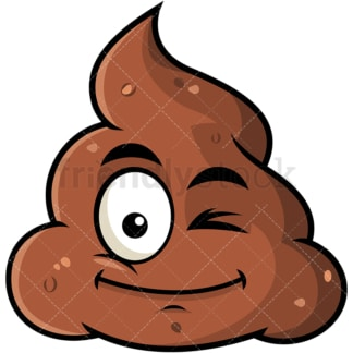 Winking poop emoticon. PNG - JPG and vector EPS file formats (infinitely scalable). Image isolated on transparent background.