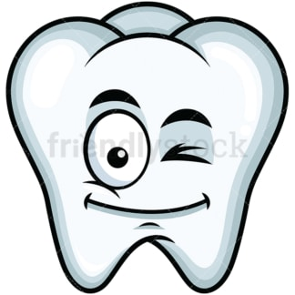 Winking tooth emoticon. PNG - JPG and vector EPS file formats (infinitely scalable). Image isolated on transparent background.