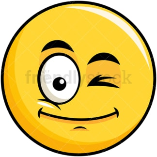 Winking yellow smiley emoticon. PNG - JPG and vector EPS file formats (infinitely scalable). Image isolated on transparent background.