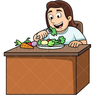 Woman enjoying vegetables. PNG - JPG and vector EPS. Image isolated on transparent background.