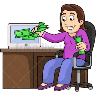 Woman pulling money out of computer. PNG - JPG and vector EPS file formats (infinitely scalable). Image isolated on transparent background.