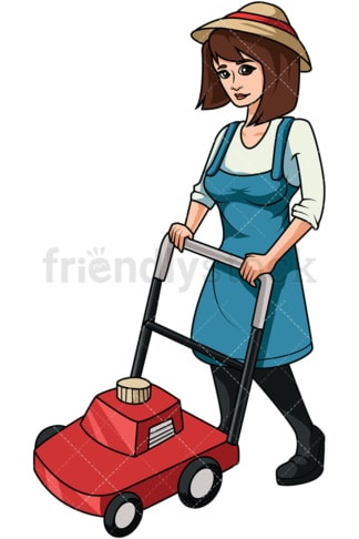 Woman using lawn mower. PNG - JPG and vector EPS file formats (infinitely scalable). Image isolated on transparent background.