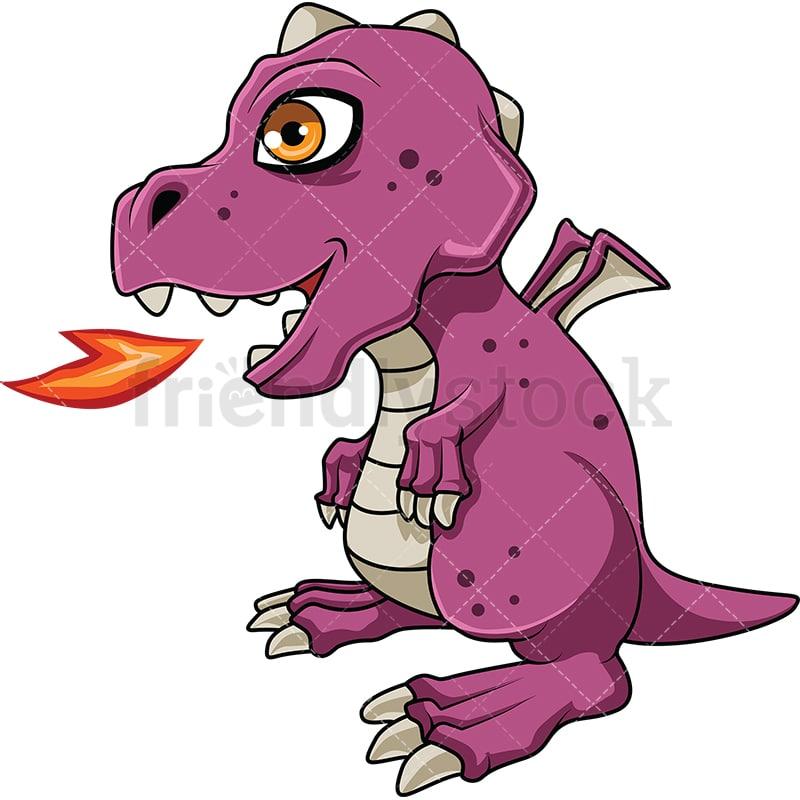 Baby Dragon Breathing Fire Cartoon Vector Clipart Friendlystock