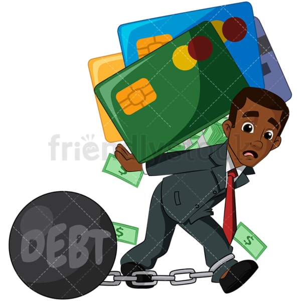 Black businessman in debt. PNG - JPG and vector EPS (infinitely scalable). Image isolated on transparent background.