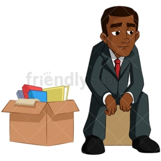 Black businessman with boxes packed. PNG - JPG and vector EPS (infinitely scalable). Image isolated on transparent background.