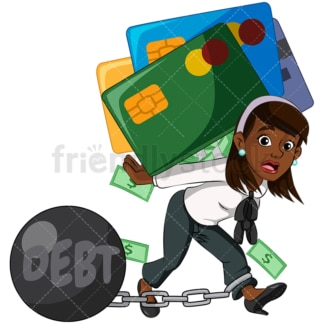 Black businesswoman carrying debt. PNG - JPG and vector EPS (infinitely scalable). Image isolated on transparent background.