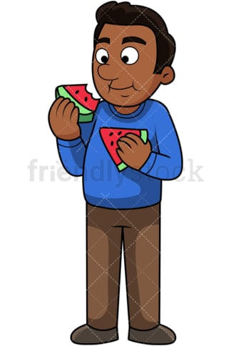 Black man enjoying watermelon. PNG - JPG and vector EPS. Image isolated on transparent background.