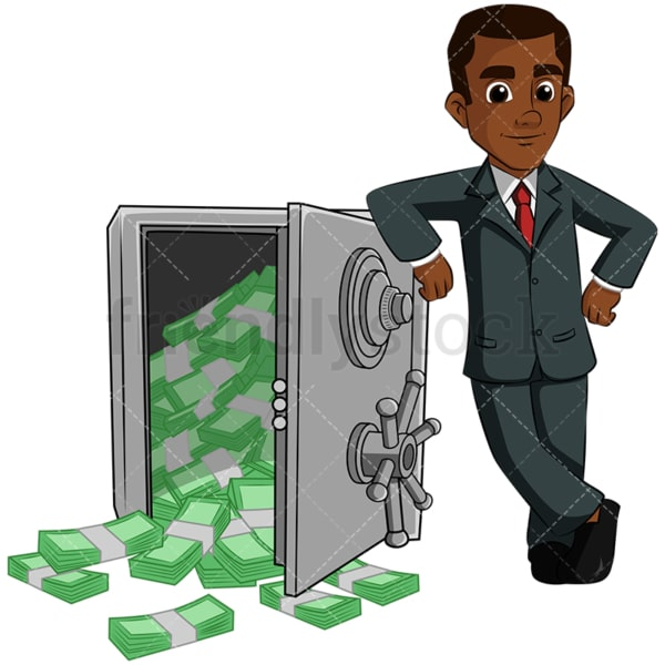 Black man leaning on safe full of money. PNG - JPG and vector EPS (infinitely scalable). Image isolated on transparent background.