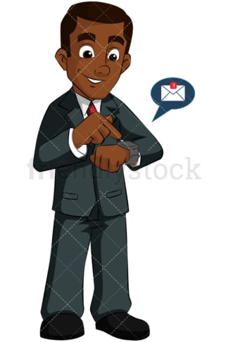 Black man wearing smart watch. PNG - JPG and vector EPS (infinitely scalable). Image isolated on transparent background.