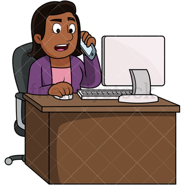 Black woman angry consumer on the phone. PNG - JPG and vector EPS file formats (infinitely scalable). Image isolated on transparent background.