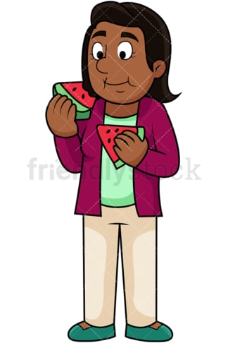 Black woman enjoying watermelon. PNG - JPG and vector EPS. Image isolated on transparent background.