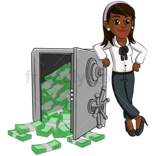 Black woman near safe vault full of cash. PNG - JPG and vector EPS (infinitely scalable). Image isolated on transparent background.