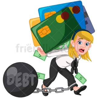 Business woman in debt. PNG - JPG and vector EPS (infinitely scalable). Image isolated on transparent background.