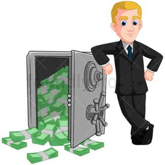 Businessman safe vault full of cash. PNG - JPG and vector EPS (infinitely scalable). Image isolated on transparent background.
