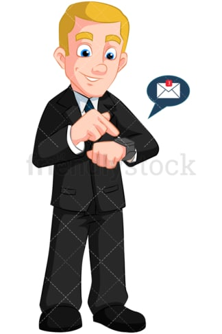Businessman wearing smartwatch. PNG - JPG and vector EPS (infinitely scalable). Image isolated on transparent background.
