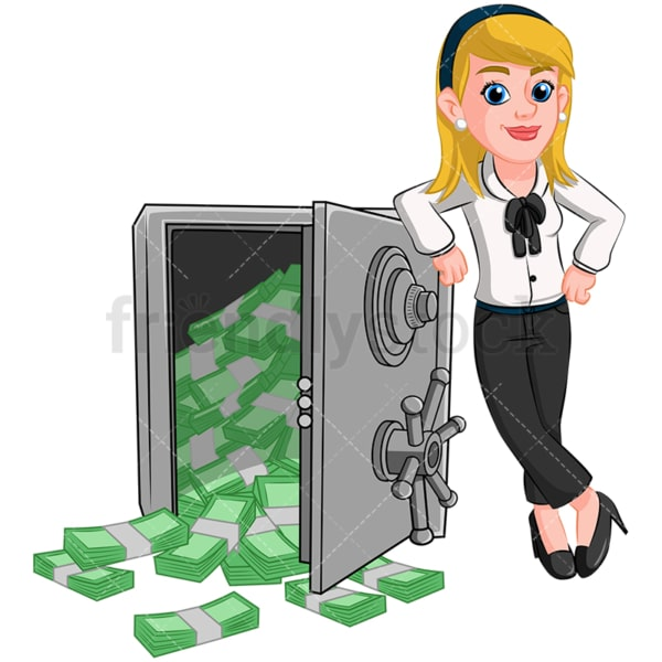 Businesswoman safe vault full of cash. PNG - JPG and vector EPS (infinitely scalable). Image isolated on transparent background.