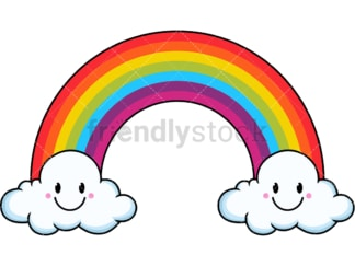Cute kawaii rainbow. PNG - JPG and vector EPS file formats (infinitely scalable). Image isolated on transparent background.